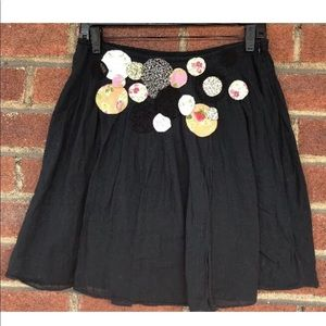Free People granny quilted black mini skirt size 0